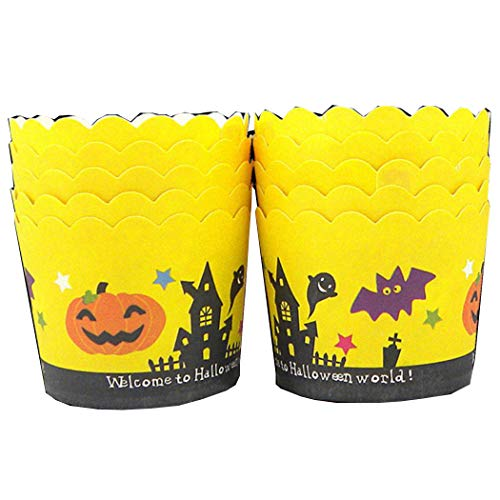 50 Pcs Halloween Pumpkin Ghost Pattern Hard Thick Muffin Halloween Cupcake Liners Lace Cake Tools -