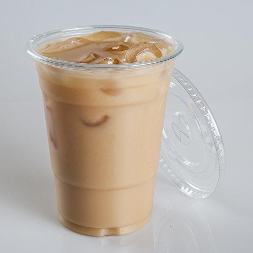 16 oz plastic clear drink pet cups with flat lids 100 sets new ebay. Black Bedroom Furniture Sets. Home Design Ideas