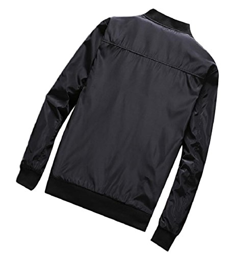 RkBaoye Overcoat Black Zip Mens Solid Style up up Basic Collar Stand with Pockets pawRprq