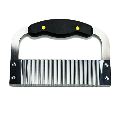 Huji Black Handled Crinkle Cut Knife Salad Chopping Knife and Vegetable French Fry Slicer Steel Blade Cutting Tool, Silver (1, Crinkle Cutter)