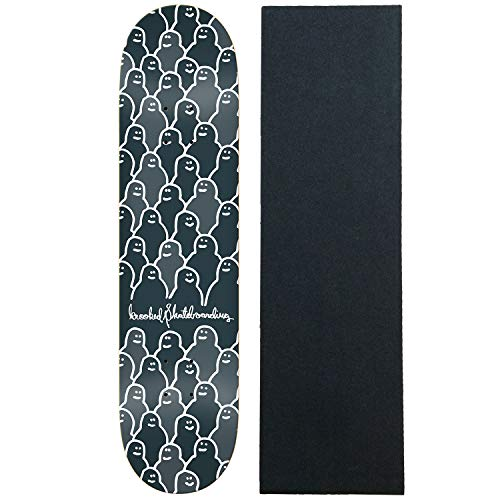 """Krooked Skateboard Deck Krouded 2 Charcoal 8.25"""" with Grip"""
