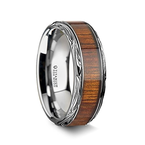 Thorsten - Ohana Flat Style Titanium Wedding Ring with Koa Wood Inlay and Polished Intricate Edges Comfort Fit Lightweight Durable Wooden Wedding Band - 10mm