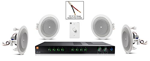JBL 8124 In-Ceiling Loudspeaker Bundle with JBL CSMA 240 Mixer Amplifier and Accessories - Restaurant Sound System (19 Items) by JBL Professional