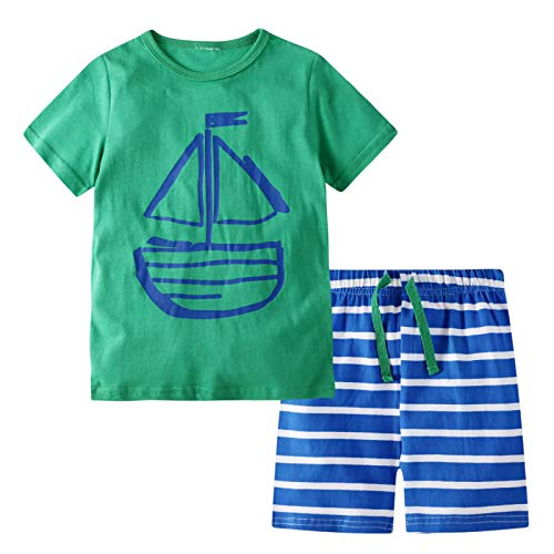 BIBNice Toddler Cotton Pajamas Set Striped Clothes for Boys 4t (Boys 4t Clothes)