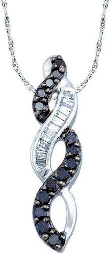 Or blanc 14 carats-Diamant 0.34 Dwt JewelryWeb Pendentif Mode