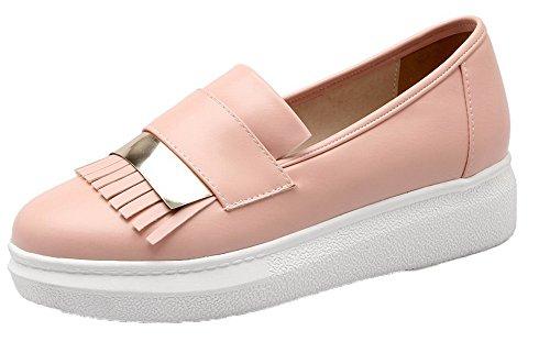 Tour À Enfiler À Bout Fermé À Franges Pu Bas-talons Voguezone009 Femmes Pompes Chaussures Rose