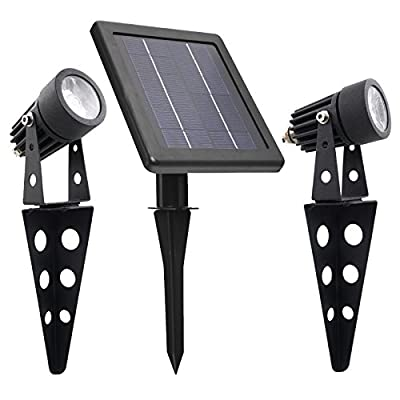 Mini 50X Solar Powered Twin LED Spotlight , Cast Aluminium , Warm White , Lithium , Day/Night Sensor for Auto ON/OFF , 60 Lumen Per Light Fixture for Outdoor Garden Yard Landscape Downlight
