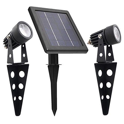 Mini 50X Solar Powered Twin LED Spotlight , Cast Aluminium , Warm White , Lithium , Day/Night Sensor for Auto ON/OFF , 60 Lumen Per Light Fixture for Outdoor Garden Yard Landscape Downlight (Garden Review Solar Spotlights)