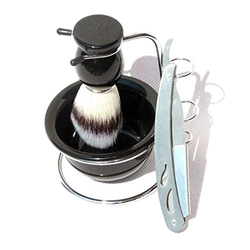 4pc/set Shaving Brush Metal Stand Acrylic Bowl with Straight Edge Blade Razor Men Beard Kits Men Gift