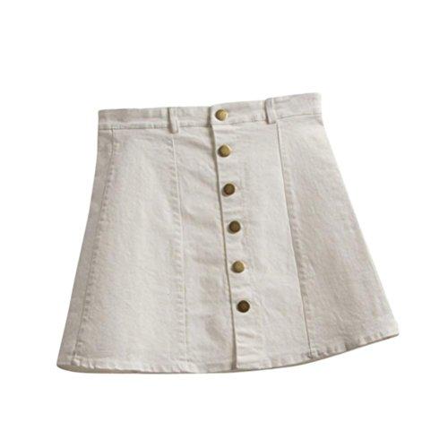 Femme t Mini Jupe, Mode Femme Jupe Taille Style Coren Filles Cowboy Mini Denim Jupe Courte Ba Zha Hei Blanc