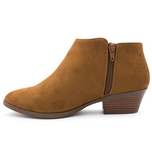 Premier Standard Damen Runde Kappe Faux Wildleder gestapelt Heel Western Ankle Bootie Cognac
