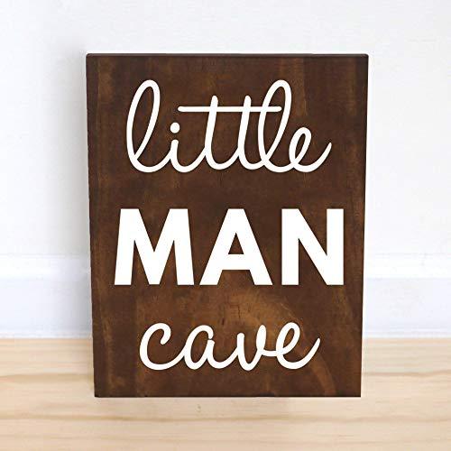 (Little Man Cave Sign, Nursery Decor Boys Nursery Wall Art Baby Shower Gift Boy,10x12)