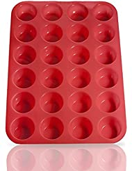 Laminas Silicone Mini Muffin Cupcake Baking Pan 24 Cup Size, BPA Free, Non Stick, Easy To Clean, Oven / Microwave / Dishwasher / Freezer safe, Heat Resistant Up To 450F, Red - Plus Free Recipe eBook