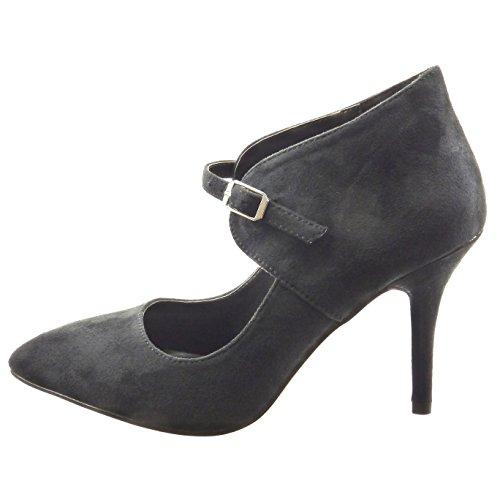 Sopily - Scarpe da Moda scarpe decollete alla caviglia donna Tacco Stiletto tacco alto 9 CM - Nero