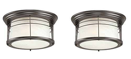 Westinghouse 6674600 Senecaville Two-Light Exterior Flush-Mount Fixture, Weathered Bronze Finish on Steel with White Alabaster Glass (2 Pack) - Exterior 2 Light Flush