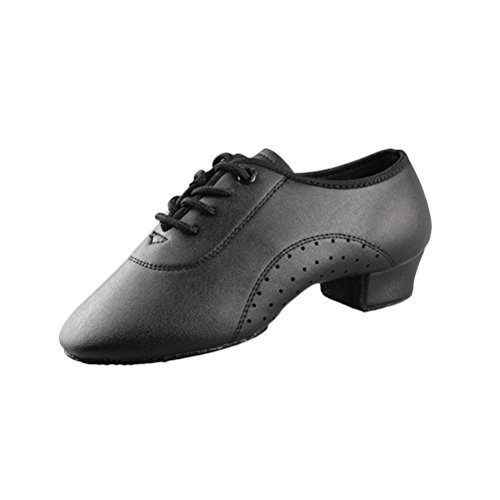 Zhhlinyuan Men's Comfortable PU Leather Latin Dance Shoes Modern Fashion Dance Shoes Black