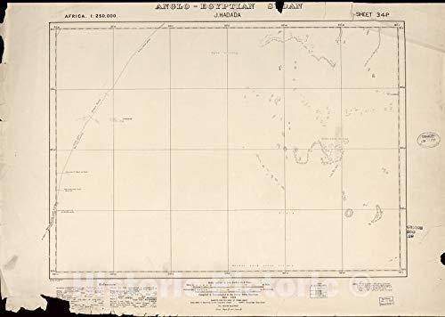 Historic 1909 Map | Sudan 1:250,000 | J. Hadada Sheet 34-P Nov 1922 | Anglo-Egyptian Sudan 44in x 32in