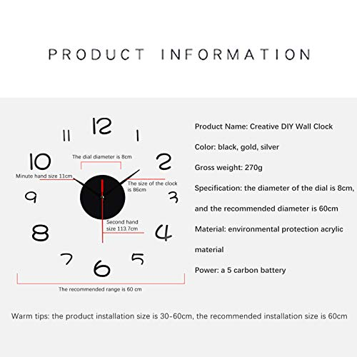 Wall Sticker Wall Clock, Frameless DIY Wall Mute Clock 30D Mirror Surface Sticker Home Office Decoration,White-7