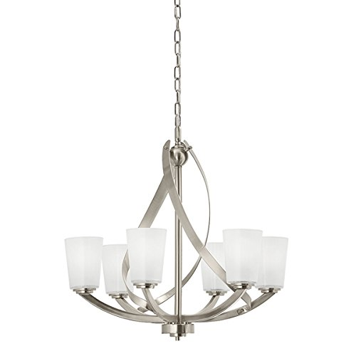 Kichler Layla 24.21-in 6-Light Brushed Nickel Etched Glass Shaded Chandelier