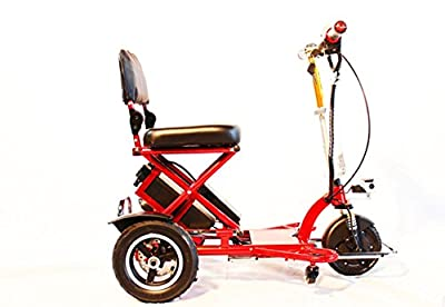 Enhance Mobility - POWER PACKAGE ($500 VALUE) - Triaxe Sport Portable Folding Scooter - 3-Wheel - Red