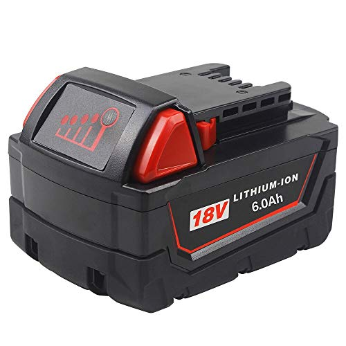 TenMore M18 6.0ah Replacement for Milwaukee 18v Battery for 48-11-1815 48-11-1828 48-11-1830 48-11-1890 6000mah Cordless Tool Battery