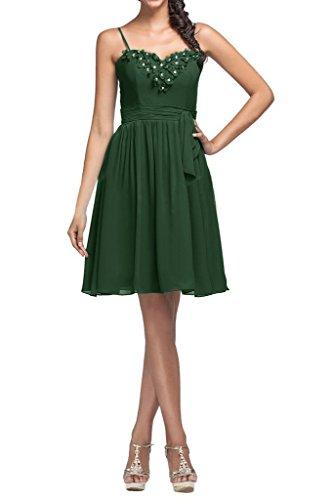 Robe De Cocktail De Mariée Ange Partie En Mousseline De Soie Robe De Soirée Pour Demoiselle D'honneur Vert Foncé
