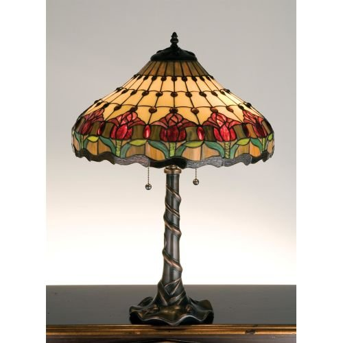 Meyda Tiffany 99270 Colonial Tulip Table Lamp, 25.5