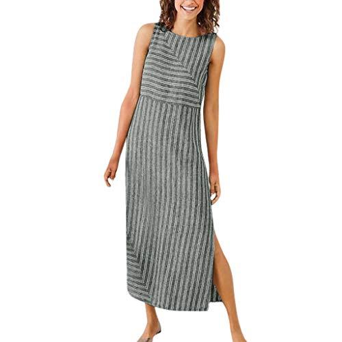 (iPOGP Women Casual Striped Sleeveless Split Dress Crew Neck Linen Long Dress Summer (Gray,L))