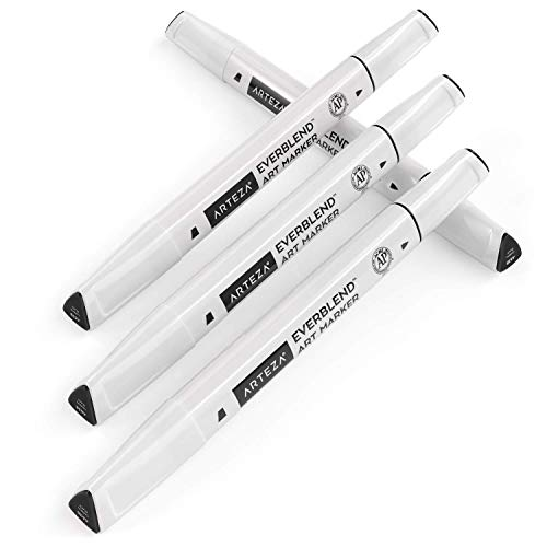 Arteza EverBlend Art Markers Carbon Black A638 (Set of 4), Alcohol Based Sketch Markers with Dual Tips (Fine and Broad Chisel) for Painting, Coloring, Sketching and Drawing