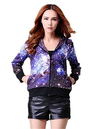 Sunnying Bright Night Sky Women's Full Zip Fleece Hoodie Sweatshirts (Style 3, Small)