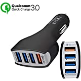 TJC Car Charger Quick Charge 3.0 4 Ports USB Qualcomm QC 3.0 Fast Charging Adapter Multi Protection Technology Compatible with Android Smartphones Samsung S9/S8 Plus Sony iPhone X/8 iPad (Black)