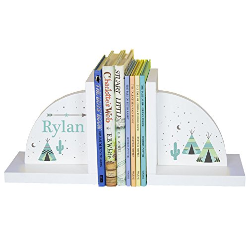 Children's Personalized TeePee Bookends - Mint & Gray by MyBambino