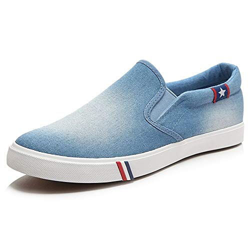 Kakkkchi A002M Unisex Canvas Slip on Fashion Loafers Mens Casual Walking Shoes (9.5, A05N Light Blue)