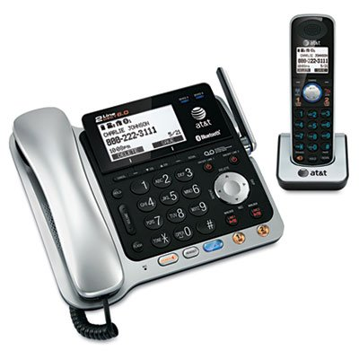 AT&T TL86109 DECT 6.0 2-Line Expandable Corded/Cordless Phone with Bluetooth Connect to Cell, Answering System and Base Speakerphone, 1 Corded Handset and 1 Cordless Handset, ()