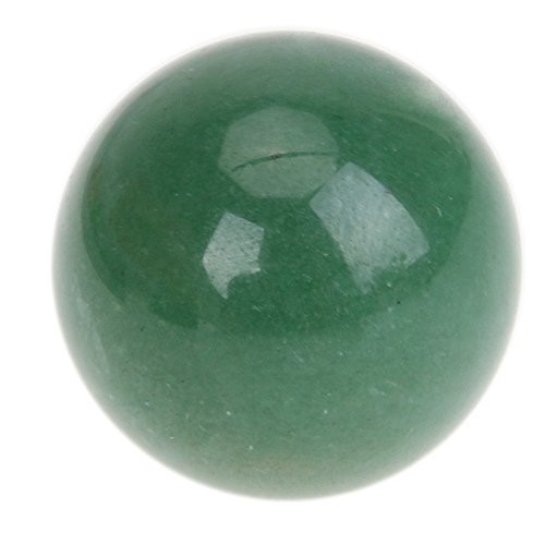 Awakingdemi Rock Quartz Crystal Gemstone ,25mm Natural Green Aventurine Quartz Crystal Ball Healing Sphere with Wood Stand