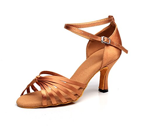 Shoe 5 Satin Women's Heel High Ballroom Shoes Dance Professional 5cm Sandals Latin Girl's Dance Shoes Latin Ballroom Upper Heel Zn8Oxq6t