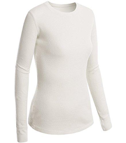 Active Basic Women Plain Basic Round Crew Neck Thermal Long Sleeves T Shirt -