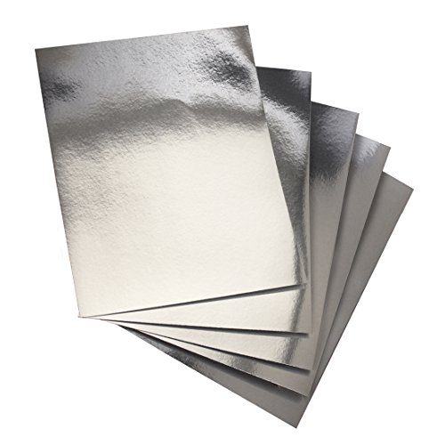 Hygloss 25 Silver, 8.5 x 11-Inch Metallic Foil Board Sheets