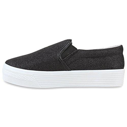 Stiefelparadies Damen Sneaker Slip Ons mit Plateau Glitzer Flandell Schwarz Muster