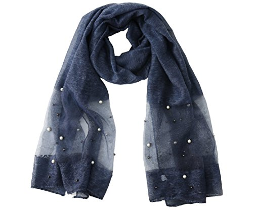 Pink Lady Women's Designer Sheer Scarf (Oversized) Luxury Shawl and Shoulder Wrap (navy)