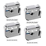 12Mm Label Printer - Compatible P-Touch M Tape 12mm 0.47 inch, M231 M131 MK231 MK131 Label Tapes Compatible with Brother P Touch Label Makers PT-M95 PT-65 PT-85 PT-45 (12mm x 8m), 4-Pack