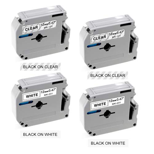 - Compatible Ptouch M Tape 12mm 0.47 inch MK231 MK131 Label Tape Compatible with Brother P Touch Label Maker PT-M95 PT-65 PT-85 PT-45 12mm x 8m 4-Pack