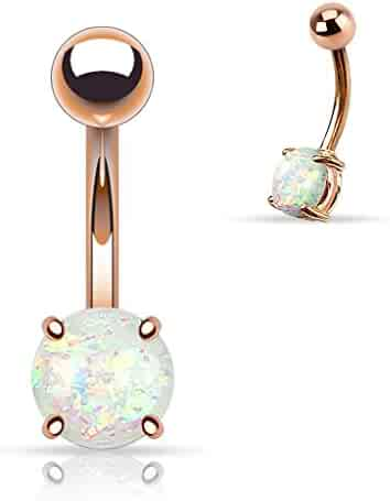 14G Opal Glitter Prong Set Rose Gold IP Over 316L Surgical Steel Belly Button Ring (Synthetic Opal) - Choose Color
