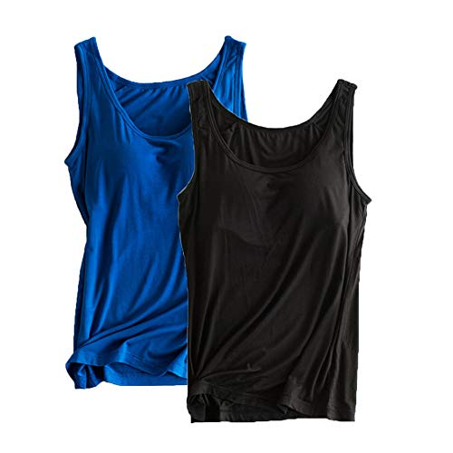 Women's Padded Active Cap Sleeve Layering Crow Neck Camisole 2-Pack Tanks Tops Built-in-Bra S Black/Deep Blue
