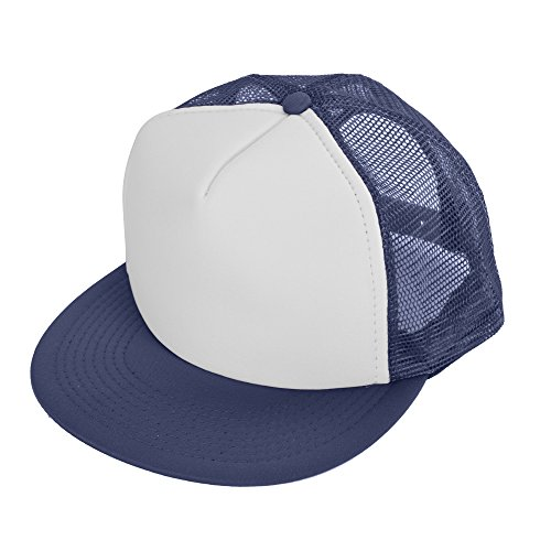 DALIX Flat Billed Trucker Cap With Mesh Back in (Trucker Hat Ball Cap)