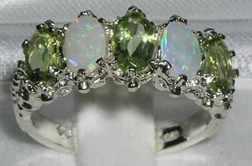 925 Sterling Silver Natural Peridot and Opal Womens Eternity Promise Ring - Size 7.5