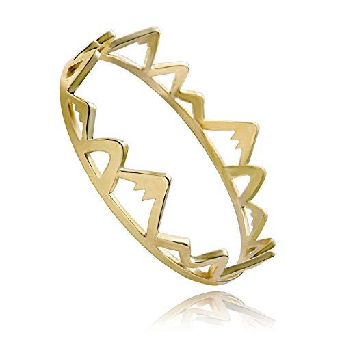 SENFAI Created Mountains Top Charm Direction Bracelet Bangle (Gold) by SENFAI