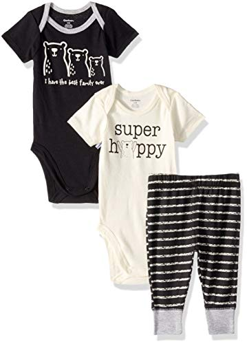 - Gerber Baby Boys 3-Piece Onesies Bodysuits and Pant Set, Bear Family, 0-3 Months