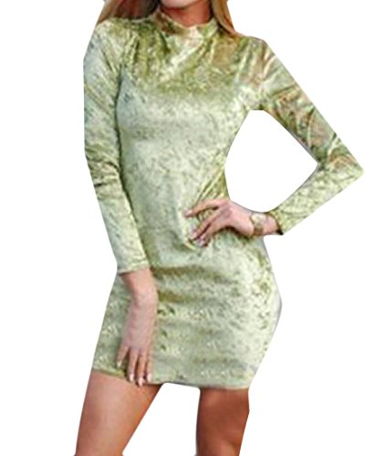 Zimaes-Women Velvet Mulit Color Bodycon Slim Turtleneck Club Dress Lemon Green M