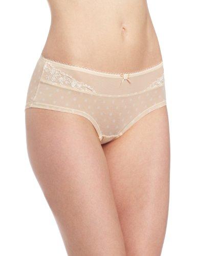Paramour by Felina Women's Sweet Revenge Hipster Panty, Bare/Ivory Dot, Medium